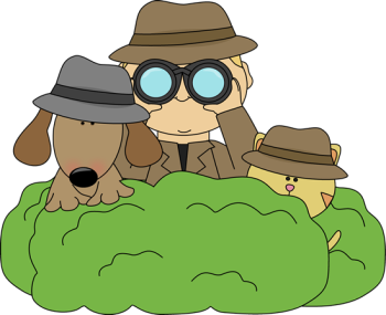 detective-in-bushes-with-dog-and-cat